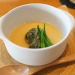 ごはん屋 今ここ - 「よもぎ」茶碗蒸しにヨモギと魚のお団子がのっています。ヨモギの香りがスゴイ!