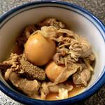 鶏料理 川 - 玉ひも煮350円(税込み価格)