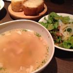 27065924 - サラダ、スープ、パン