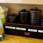 チャオチャオ - ドレッシングと、からし味噌、味噌ダレ、酢醤油、食べるラー油
