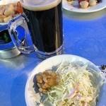 27079108 - タカシマヤ屋上 アサヒビアガーデンの黒生ビールと料理(14.05)
