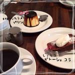 ツバメ食堂 - 最後に紅茶か珈琲を選べれて 3種類の中から好きなデザートを一品チョイス  プリンは本格的過ぎて、カラメルは絶句…