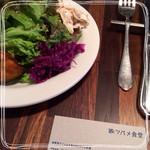 ツバメ食堂 - サラダは色んな種類が少しづつ載ったワンプレート式、前菜にはちょうどいいサイズ