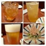 27109878 - あらごし梅酒」「はっさく梅酒」「ビール」・・                       お通しの「煮びたし」も美味しい。