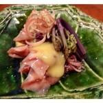 27109884 - ホタルイカの酢味噌がけ・・酢味噌のお味が好みです。旬の「蛍烏賊」は味噌も美味しいこと。