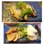 27123764 - お通し・・牡蠣のオイル漬け(だったような)・・大粒の牡蠣で美味しい。                        *いぶりがっこ(燻した漬物)とクリームチーズ(500円)