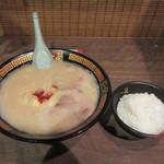 一蘭  - 暫くすると注文した半ご飯とラーメンの出来上がりです。