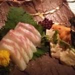 Rojimon - 鯛のこぶ締めと湯葉の雲丹乗せ