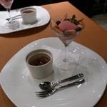 27133482 - デザート(ベリーソルベに紅茶のクリームブリュレ)