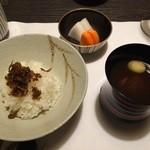 酒ありき肴与一  - じゃこご飯、お味噌汁、香の物