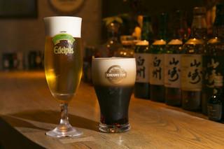 お箸BARおれお - サッポロエーデルピルス&エビススタウトクリーミィトップ。どちらも本当にオススメの生ビールです(^^)