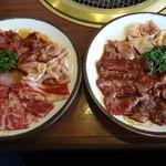 ウエスト - 料理写真:3品ランチ 若鶏、カルビ、ハラミ 若鶏、ハラミX2の組み合わせ