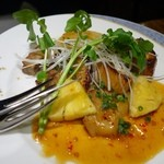 アサヒスーパードライ - (2014/4月)柔らかポークのポリネシアンソース玉ねぎのロースト添え