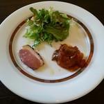27151624 - ☆前菜 プレート 3 点 … 合鴨のスモーク・カポナータ・ミニサラダ