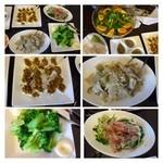 27162092 - 「肉のせ豆腐」「蒸し鶏」「ザーサイ」「野菜の炒め物」「野菜サラダ」「豆の煮物」など。                        烏龍茶・珈琲まであります。どれも女性らしい感性で美しく丁寧に作られていますよ。