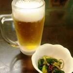 ほっとして ざわ - ぐいっと一杯セット(Nセット)980円のビールと付だし(つまみは別)