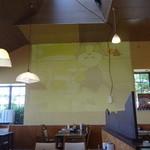 HAMBURG & CAFE New York - 店内の壁面にプロジェクターでビデオを映しています
