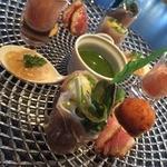 27175169 - グリーンアスパラガスの海藻バター焼きと前菜の盛り合わせ