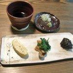 2718201 - 前菜は卵焼、春菊しめじ、里芋胡麻味噌田楽