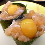 回転寿司喜楽 - サーモンうずら¥110 コレは2皿w♪