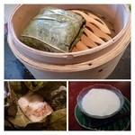 オールドハウス ラオファン - 粽・・蓮の葉の香りがいいですね。中は定番の品です。  杏仁豆腐・・柔らかめですが、甘みも程良く美味しい。