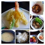 すし幸 - 「天ぷら」はこのお値段ですのに「海老3尾」。小鉢も普通に美味しい。