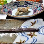 出羽屋 - 夕食(ワラビの一本漬け & ヤマウドのクルミ味噌和え)
