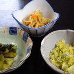 あかり亭 - からし菜のお漬物や干し大根の煮物です