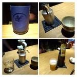 27253391 - お酒はビールと日本酒のみ。                        余り辛口でなくスッキリした味わいの品を・・とお願しましたら「若」を出してくださいました。                        山口の女性杜氏さんが作られているそうですよ。