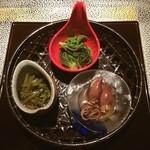 さんざし - 料理写真:前菜は、こしあわび・ホタルイカ・葉山葵。