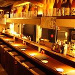 八女小町 - 臨場感あるオープンキッチンのカウンター