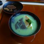 花隈 佐々木 - 椀物(すくいタマゴときくらげのうぐいす豆の磨り流し餡かけ)