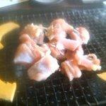 古里庵 - モモ肉の焼き始め
