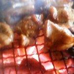 古里庵 - 炭火焼中のモモ肉
