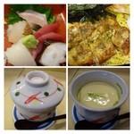 寿司 味処 河童 - 穴子は「香ばしい。穴子ちらしの横には「鮪・烏賊・蛸」などのお刺身が付きます。  「茶わん蒸し」はお魚・銀杏などが入っていて美味しいですよ。