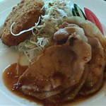 楽天地スパ 展望レストラン - 豚しょうが焼きメンチフライ定食