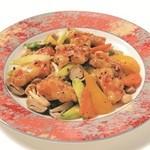 タラバ蟹の黒豆ソース炒め