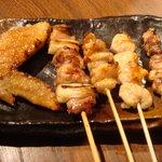 八女小町 - 八女鶏 串焼五種盛