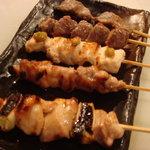 八女小町 - 近江鶏 串焼五種盛