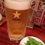 27326312 - 生ビール、お通しは枝豆