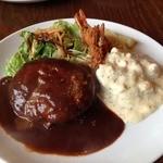ハンバーグレストラン BOSTON - Aランチ<ハンバーグ、エビフライ2本、サラダ>(1450円)