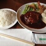 ハンバーグレストラン BOSTON - Aランチ<ハンバーグ、エビフライ2本、サラダ、ライス>(1450円)