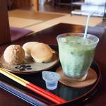 みやび茶屋 仲元 - 料理写真:どらやきセット+アイス抹茶ラテ