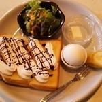 咲倉珈琲店 - モーニングサービス(チョコ生クリーム)※トースト、ゆで卵、サラダ、フルーツ、プチデザート付き
