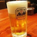 七輪焼肉 安安 - 生ビール♪