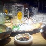 馬力キング - 1回目。写真では宴会状態ですが(笑)、ちょい飲みセット(1500円)のみ。焼酎は追加しています。