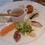 27360440 - パスタセット750円の前菜とスープ!