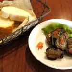 La Coccinella - 前菜・茄子のマリネとパン=2014年5月