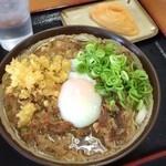 桜製麺 - ランパス使用で「肉玉うどん(2玉)」と「いなり」。2玉つっても他店の3玉分はあろうかというボリューム!