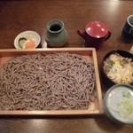 芭蕉庵 - 板そば大盛りと牛とじご飯   1,350円